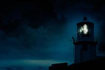 light on in a lighthouse