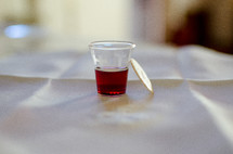 wine and wafer, communion elements