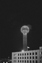Reunion tower lit up at night