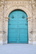 blue cathedral doors
