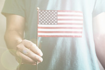hand holding a miniature American flag