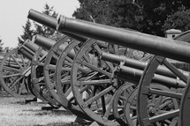 Civil war canons lined up