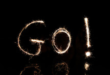 """GO"" written in fireworks."