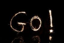"""""""GO"""" written in fireworks."""