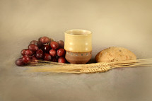 bread and wine, communion, wheat grains, grapes, cup