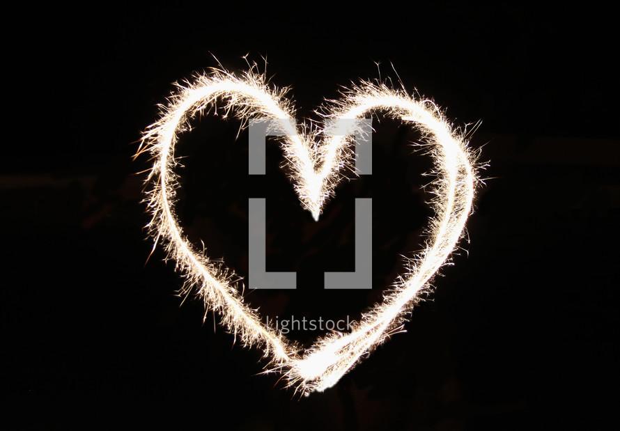 Heart shape in fireworks.