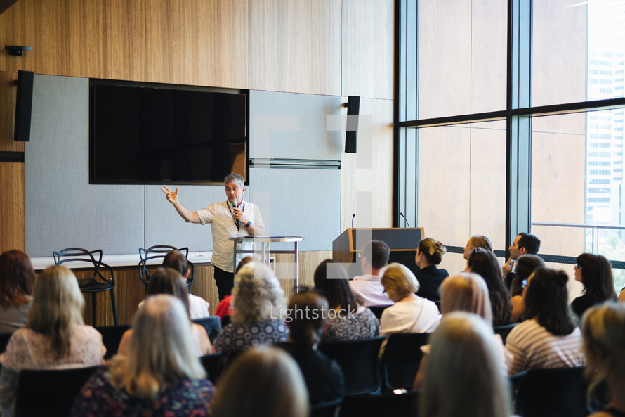 man giving a lecture