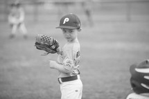 boy child baseball player on the field