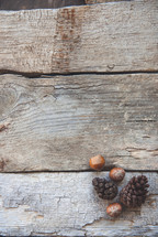 pine cones and acorns on wood