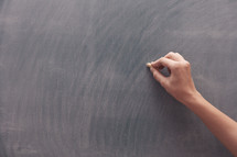 arm with chalk over a blank chalkboard