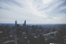 aerial view over Chicago