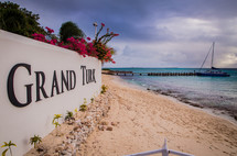 Grand Turk sign on a beach