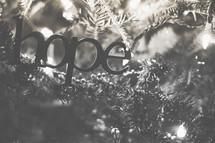 A hope ornament on the Christmas tree
