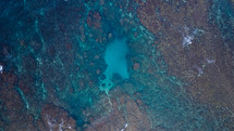 aerial view over a coral reef