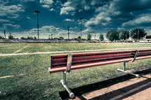 Bench on a football field.