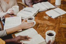 coffee and Bibles on a table at a Bible study