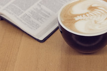coffee and opened Bible