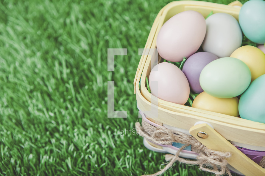 Easter Egg Basket Background with Copy Space