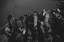 Chicago skyscrapers in black and white