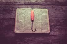 fishing hook on a Bible