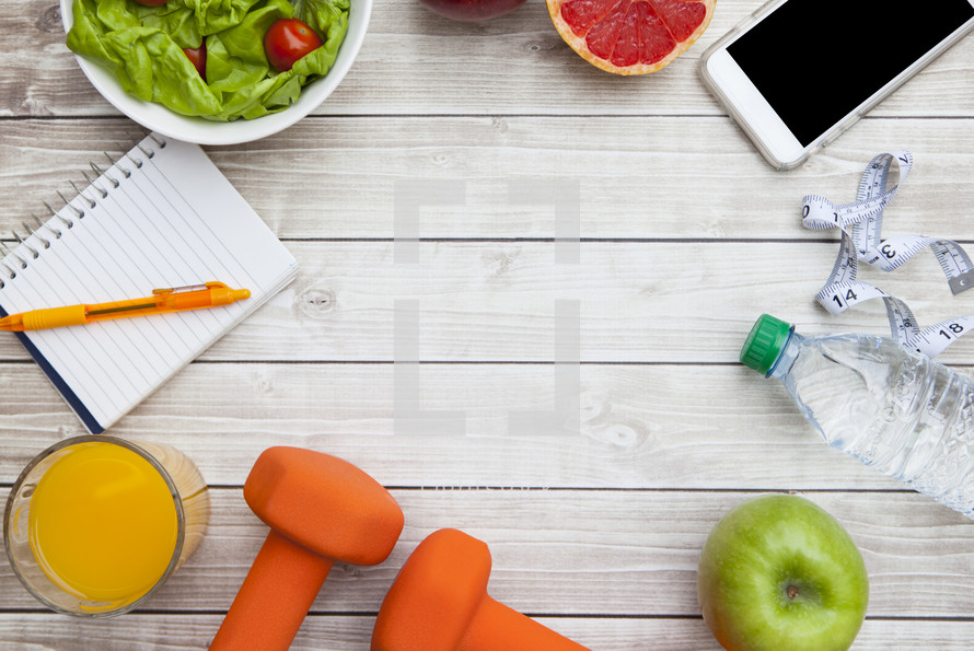 Healthy Diet with Smartphone Background