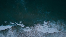 aerial view over ocean water
