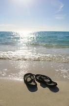 Flip flops on a beach