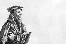 A drawing of John Calvin holding a Bible.