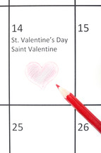 Valentines day on a calendar
