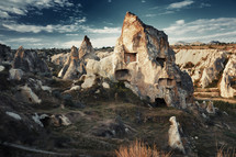 homes carved into a mountain rock of Cappadocia, Turkey