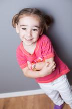 Smiling girl posing.
