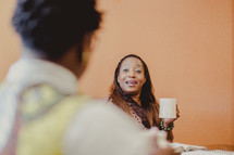 women in conversation at a woman's group Bible study