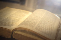 open pages of an old Bible