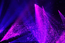 Purple spotlights with a cascade of bubbles