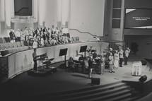 choir singing at a worship service