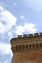 brick detailing on a roof of an ancient building