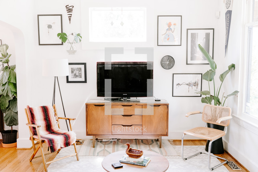 tv stand in a living room