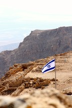 Israeli flag on top of Masada