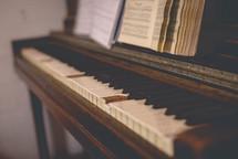 broken keys on an old piano