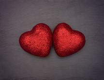 red glitter hearts