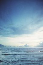 beautiful ocean water with vibrant blue skies