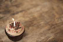 chocolate cupcake and candle