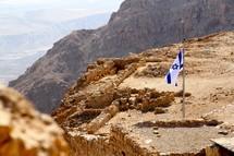 Israeli Flag flying on top of Masada