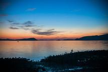 shoreline at sunset