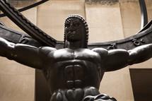 Bronze Hercules sculpture.