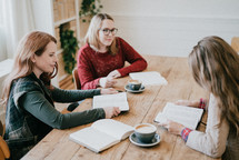 women at a fall Bible study
