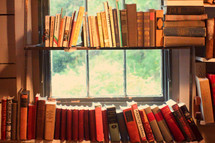 Library of antique books in front of a window.