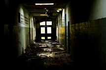 natural disaster - hallway in ruins