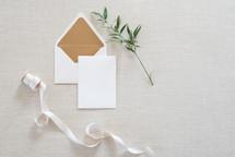 envelope, notecard, card, ribbon, blank, letter, twig, greenery