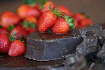 strawberries and dark chocolate